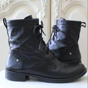 Nine West Takotae Leather Lace Up Combat Boots 9